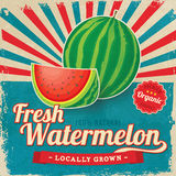 De kleurrijke uitstekende affiche van het Watermeloenetiket Stock Foto's