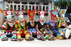 De kleurrijke uitvoerder van het spookmasker in Phi Ta Khon Festival Royalty-vrije Stock Fotografie