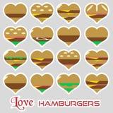 De kleurrijke van de stijlen eenvoudige stickers van hartenhamburgers pictogrammen eps10 vector illustratie