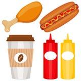 De kleurrijke vastgestelde affiche van het snel voedselpictogram vector illustratie