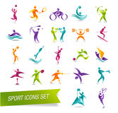 De kleurrijke vastgestelde illustratie van het sportenpictogram Stock Fotografie