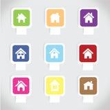 De kleurrijke vastgestelde vector van het huispictogram Stock Foto
