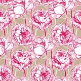 De kleurrijke vector de kunst van de ontwerpbloem het schilderen pioen van de het patroontuin van het decoratiebehang naadloze vector illustratie