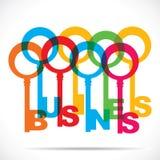 Kleurrijke bedrijfswoordsleutel stock illustratie