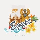 De kleurrijke vector van Egypte Egyptische traditionele pictogrammen in vlak ontwerp Vakantie en de zomeraffiche Stock Afbeeldingen