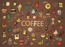 De kleurrijke vectorhand getrokken reeks van het Krabbelbeeldverhaal voorwerpen en de symbolen op de koffietijd als thema hebben Stock Foto
