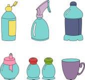 De kleurrijke vectorillustratie van keukenelementen stock illustratie