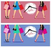 De kleurrijke vectorillustratie van vrouwen met het winkelen zakken vector illustratie