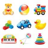 De kleurrijke vectorreeks van speelgoedpictogrammen Royalty-vrije Stock Fotografie