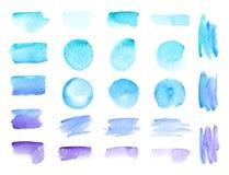 De kleurrijke vectorslagen van de waterverfborstel De regenboog kleurt geplaatste achtergronden van de de vlekken de vectorbanner vector illustratie