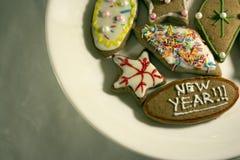 De kleurrijke verfraaide koekjes, sluiten omhoog Royalty-vrije Stock Foto