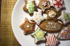 De kleurrijke verfraaide koekjes, sluiten omhoog Stock Afbeelding
