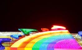 De kleurrijke verlichting van de nachtregenboog Royalty-vrije Stock Afbeeldingen