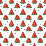 De kleurrijke vlakke ontwerpwatermeloen snijdt naadloze patroonachtergrond Royalty-vrije Stock Fotografie
