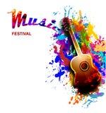De kleurrijke vlieger van het muziekfestival, banner met gitaar Stock Foto's