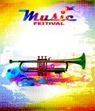 De kleurrijke vlieger van het muziekfestival, banner met trompet vector illustratie