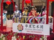 De kleurrijke vlotter in Chinees paradeert 2018 San Francisco royalty-vrije stock afbeelding