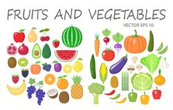 De kleurrijke vruchten en de groenten clipart plaatsen Fruit en plantaardige gekleurde beeldverhaalinzameling stock illustratie