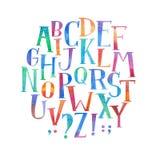 De kleurrijke waterverfaquarelle doopvont typt met de hand geschreven hand trekt abc alfabetbrieven Stock Afbeelding
