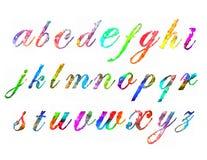 De kleurrijke waterverfaquarelle doopvont typt met de hand geschreven hand trekt de brieven van het krabbel abc alfabet Stock Foto's