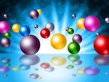De kleurrijke Zonnestralenmiddelen stralen Zonneschijn en Orb uit stock illustratie