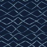 De Kleurstof Naadloos Vectorpatroon van de indigoband Hand Getrokken Diamond Stripes stock illustratie
