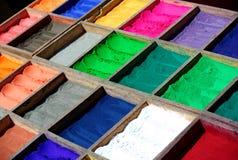 De kleurstoffen van het poeder, Nepal. Royalty-vrije Stock Fotografie
