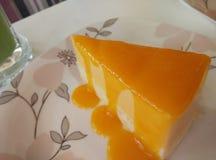 de kleverige cake van de rijstmango Stock Foto's