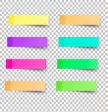 De kleverige herinnering neemt nota van realistische gekleurde documenten Stock Afbeelding