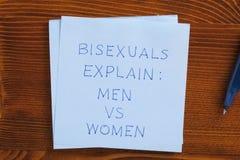 De kleverige nota met bisexsual tekst verklaart royalty-vrije stock afbeeldingen