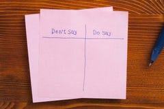 De kleverige nota met tekst zegt niet en zegt Stock Afbeelding
