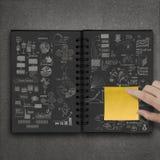 De kleverige nota van de handduw over hand getrokken boek Stock Foto