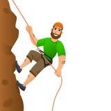 De klimmer die van de rots zich aan een klip vastklampt De mens begaat toe te nemen de steile helling Het karakter van het beeldv Stock Foto