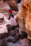 De klimmer van de rots in canion royalty-vrije stock afbeeldingen