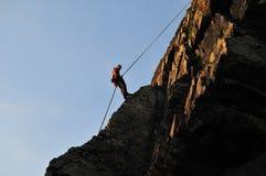 De klimmer van de rots het afweren Stock Foto