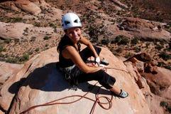 De klimmer van de vrouw Stock Fotografie