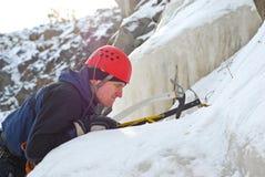 De klimmer van het ijs Stock Foto