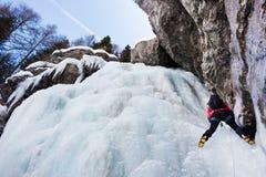 De klimmer van het ijs Stock Fotografie