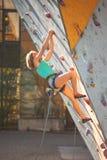De klimmertreinen op een kunstmatige hulp Stock Afbeelding