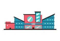 De kliniekbouw Vlakke vectorillustratie Constructivism stijl royalty-vrije illustratie