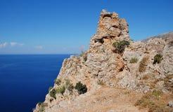 De klippen van het Tiloseiland, Griekenland royalty-vrije stock foto's