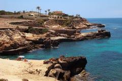De klippenlandschap van Ibiza Stock Foto