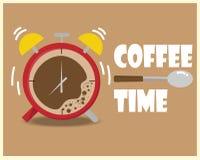 De klok en de lepel van de koffiekop op de bruine achtergrond royalty-vrije illustratie