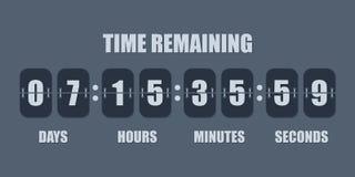 De klok tegentijdopnemer van de tikaftelprocedure Vectortijd die telling onderaan tikraad met scorebord van dag, uur, notulen en  stock illustratie