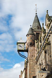 De klok van Canongate Tolbooth, Edinburgh Royalty-vrije Stock Foto's