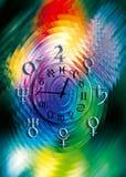 De klok van de astrologie royalty-vrije illustratie