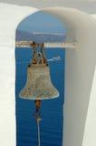 De klok van de kerk op Santorini Stock Fotografie