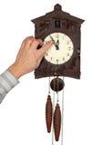 De klok van de muur met een koekoek Royalty-vrije Stock Foto's