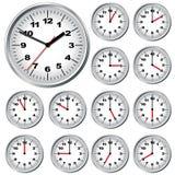 De klok van de muur. Vector illustratie. Stock Afbeeldingen