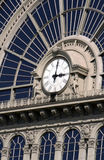De Klok van de spoorweg, Hongarije Boedapest stock foto's